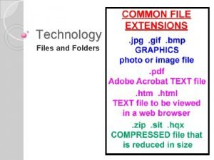 Technology 7 Files and Folders Files and Data
