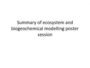 Summary of ecosystem and biogeochemical modelling poster session