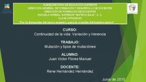 SUBSECRETARIA DE EDUCACIN SUPERIOR DIRECCIN GENERAL DE FORMACIN