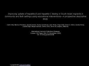 Improving uptake of hepatitis B and hepatitis C