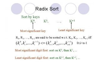 Radix Sort by keys K 0 K 1
