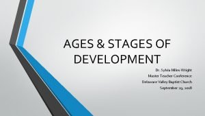 AGES STAGES OF DEVELOPMENT Dr Sylvia MilesWright Master