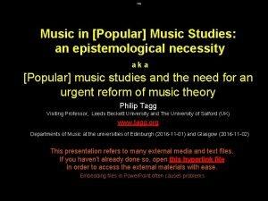 Title Music in Popular Music Studies an epistemological