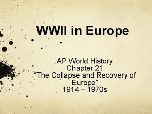 WWII in Europe AP World History Chapter 21