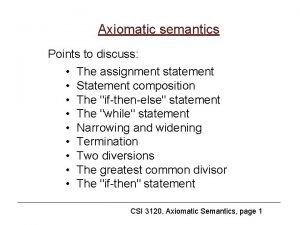 Axiomatic semantics Points to discuss The assignment statement