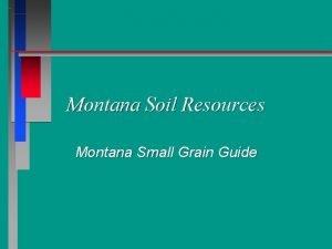 Montana Soil Resources Montana Small Grain Guide Soil