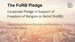 The Fo RB Pledge Corporate Pledge in Support