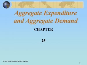 Aggregate Expenditure and Aggregate Demand CHAPTER 25 2003
