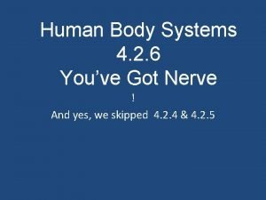 Human Body Systems 4 2 6 Youve Got