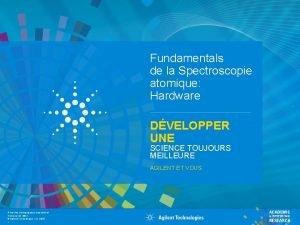 Fundamentals de la Spectroscopie atomique Hardware DVELOPPER UNE