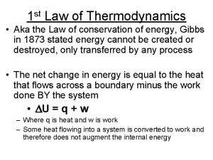 st 1 Law of Thermodynamics Aka the Law