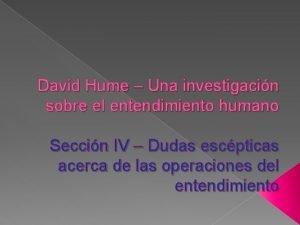 David Hume Una investigacin sobre el entendimiento humano