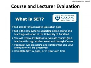 Emancipation from Violence Course and Lecturer Evaluation Emancipation