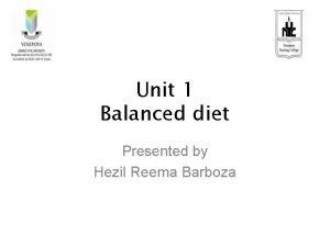 Unit 1 Balanced diet Presented by Hezil Reema