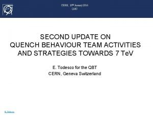 CERN 20 th January 2016 LMC SECOND UPDATE