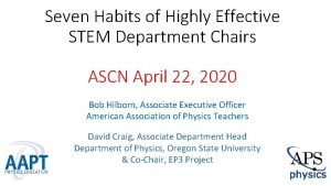 Seven Habits of Highly Effective STEM Department Chairs