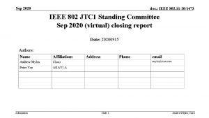 Sep 2020 doc IEEE 802 11 201473 IEEE