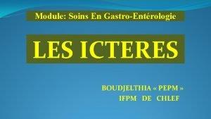 Module Soins En GastroEntrologie LES ICTERES BOUDJELTHIA PEPM