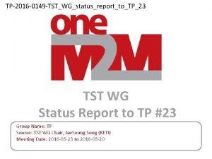 TP2016 0149 TSTWGstatusreporttoTP23 TST WG Status Report to