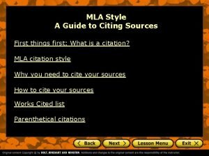 MLA Style A Guide to Citing Sources First