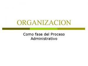 ORGANIZACION Como fase del Proceso Administrativo Proceso administrativo