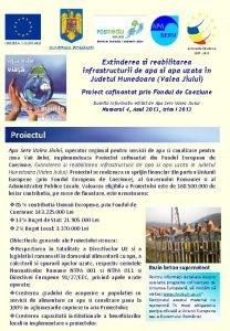 Extinderea si reabilitarea infrastructurii de apa si apa
