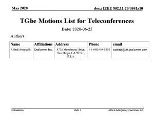 May 2020 doc IEEE 802 11 200841 r
