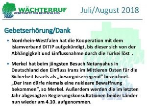 JuliAugust 2018 GebetserhrungDank NordrheinWestfalen hat die Kooperation mit