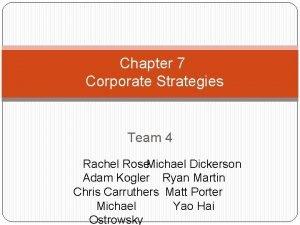 Chapter 7 Corporate Strategies Team 4 Rachel Rose