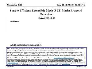 November 2005 doc IEEE 802 11 050567 r