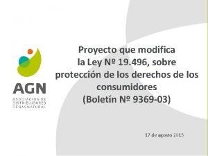 Proyecto que modifica la Ley N 19 496