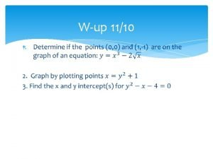 Wup 1110 10 1 Graphs of Equations SWBAT