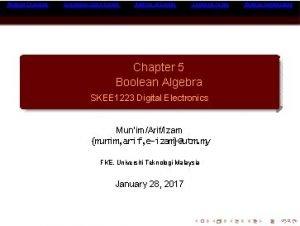 Boolean Theorems Expressing Logic Circuits Analysis of Circuits