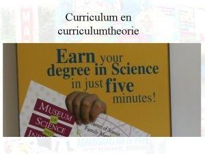 Curriculum en curriculumtheorie Advance organizer Lees volgend krantenuittreksel