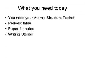 What you need today You need your Atomic