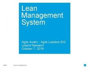Lean Management System Agile Austin Agile Leaders SIG
