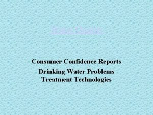 Water Quality Consumer Confidence Reports Drinking Water Problems