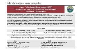 Calendario de cursos presenciales Curso Taller Desarrollo de