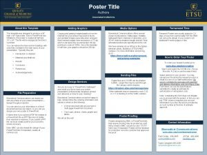 Poster Title Authors Associated institutions About this Template
