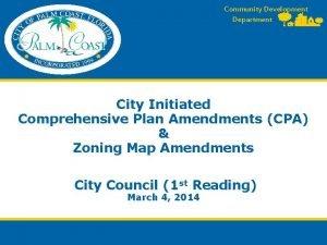 Community Development Department City Initiated Comprehensive Plan Amendments