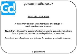 Pie Charts Card Match In this activity students