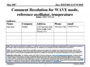 May 2007 doc IEEE 802 11 070748 r