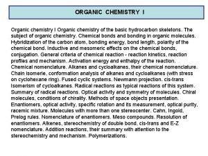 ORGANIC CHEMISTRY I Organic chemistry of the basic