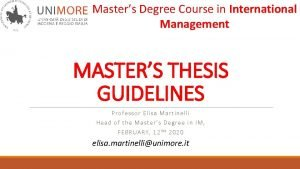 Masters Degree Course in International Management MASTERS THESIS