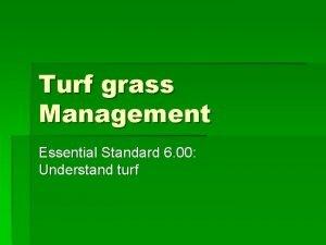 Turf grass Management Essential Standard 6 00 Understand
