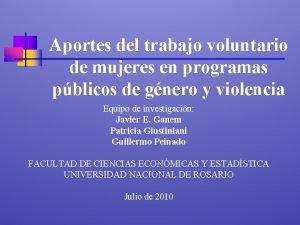 Aportes del trabajo voluntario de mujeres en programas
