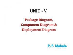 UNIT V Package Diagram Component Diagram Deployment Diagram
