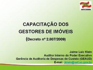 CAPACITAO DOS GESTORES DE IMVEIS Decreto n 2