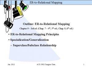 ERtoRelational Mapping Outline ERtoRelational Mapping Chapter 9 3