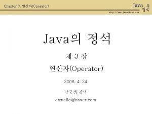 Java Chapter 3 Operator http www javachobo com